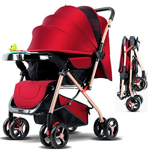 L-com Buggy Kinderwagen extra Leichter Komfort Buggy mit Liegeposition und Einhand-Faltmechanismus, klein zusammenklappbar(Rot)