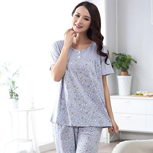 MH-RITA Sommer 2017 Frauen plus Größe 4XL Schlafanzug für kleine Blumen edler Strick aus Baumwolle Zweiteiler Pyjama für Frauen Großhandel 8157 XL (Großhandel Satin Roben)