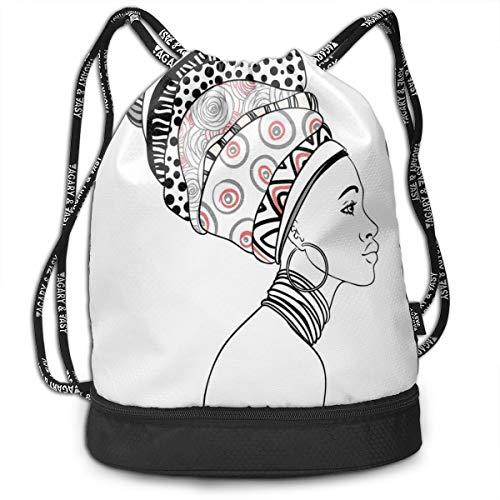 Hmihilu Drawstring Backpacks Daypack Bags,Exotic Safari Lady In Boho Turban Glamour Authentic Folkloric Fashion Design Print,Adjustable String Closure Poly Turban