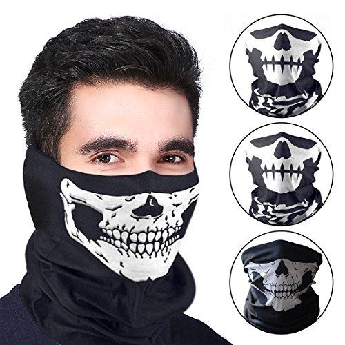 Ubegood Masken Skull, Schädel Bandana für Halloween, Weihnachten, Biking Rave Maske Paintball, zwei verschiedene Arten von Stil (3 (Masken Halloween Uk)
