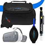 I3ePro Essentials Accessory Kit for Galaxy Gear VR. Includes Deluxe Galaxy Gear VR Carry Case + I3ePro Professional Dust Blower + I3ePro 2-in-1 Cleaning Pen + Pixibytes Microfiber VR Cleaning Cloth