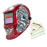 Máscara Dados de Solar Oscurecimiento Automático Soldadura Por Arco Casco de Soldador TIG MIG - Rojo