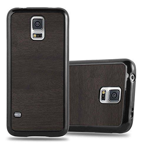 Preisvergleich Produktbild Cadorabo Hülle für Samsung Galaxy S5 / S5 Neo - Hülle in Woody Schwarz – Handyhülle aus TPU Silikon in Vintage Holz Optik - Silikonhülle Schutzhülle Ultra Slim Soft Back Cover Case Bumper