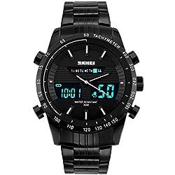 Longqi Male Dual Display Digital LED Watches Men Quartz Wristwatches