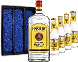 Gin Tonic Geschenkset - Finsbury London Dry Gin 70cl (37,5% Vol) + 4x Fever Tree Tonic Water 200ml + Geschenkverpackung