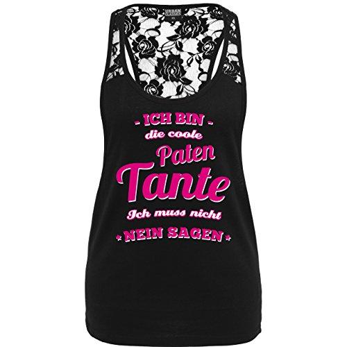 Schwester & Tante - Ich bin die coole Patentante - weit ausgeschnittenes Damen Tanktop mit Spitze Schwarz