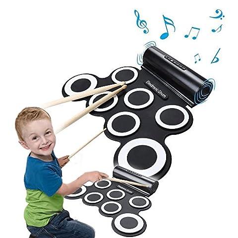 Elektronische Roll Up Drum Pad Kit,CoastaCloud Tragbare elektronische Trommel mit eingebautem Lautsprecher, Mit Stöcken, Unterhaltung Kinder Geschenk Kindertag Weihnachtsgeschenk Geschenk
