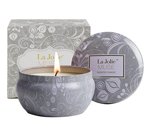 LA JOLIE MUSE Velas cilíndricas perfumadas para aromaterapia, Aceite Esencial de Loto Azul, Cera de Soja Natural, Velas del Regalo 35 Horas