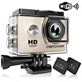 DBPOWER Sports Action Camera 1080P HD 12MP Waterproof Camera 170� Wide-angle View With 2 Rechargeable 900mAh Batteries and Various Mounting Accessories Kits for Snorkeling/Climbing/Swimming (Silver)