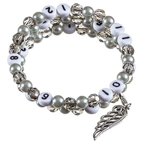 Stillarmband Grey – Praktisch für stillende Mütter sowie ein ideales Geschenk zur Geburt! (Glasschliff-/Glaswachsperlen)