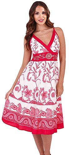 Für Kleider Dora Mädchen (Lora Dora Damen Kleid Gr. L, Flower Stems - Pink)