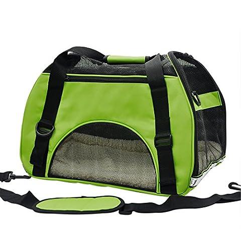 Pet Cuisine Sac à main de transport avec intérieur doux et respirable pour chien et chat Vert M