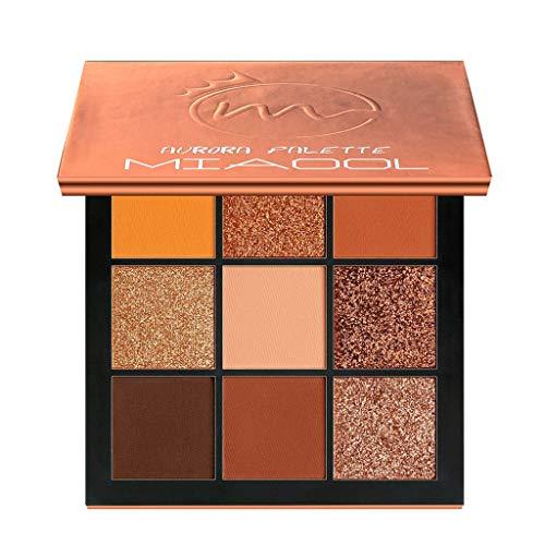 99L'amour 9 Couleurs Fard à paupières Shimmer Mate Palette Cosmétiques Brush Set de Maquillage,cosmétique Scintillement Matte Ombre palettes Eye Maquillage Ensemble (Orange)