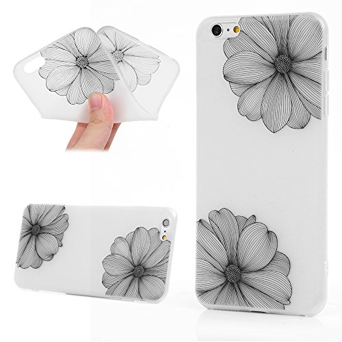 Badalink Coque iPhone 6 Plus / iPhone 6S Plus, Soft Silicone TPU Coque Premium Ultra Slim Étui de Protection Anti Choc Bumper Housse Relief Motif Jolie Peinture iPhone 6 Plus / iPhone6S Plus Coque Mag Fleur