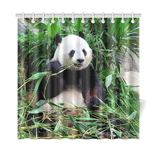 JOCHUAN Wohnkultur Bad Vorhang Riesenpanda Essen Bambus Polyester Stoff Wasserdicht Duschvorhang Für Badezimmer, 72 X 72 Zoll Duschvorhänge Haken Enthalten