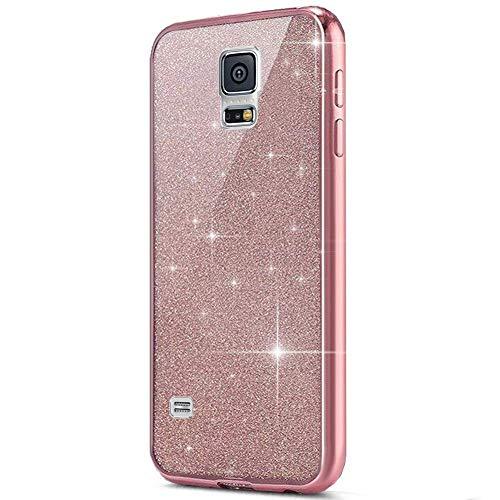 kompatibel mit Galaxy S5 Hülle,Galaxy S5 Neo Hülle,Galaxy S5 Silikon Hülle Glitzer,Galaxy S5 TPU Silikon Bumper Handyhülle Schutzhülle,Ultradünn TPU Silikon Hülle Schutz Handy Hülle Case,Rose Gold