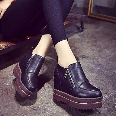 pwne Donna Sneakers Comfort Pu Molla Casual Piatto Nero Black Us5 / Eu35 / Uk3 / Cn34 US7.5 / EU38 / UK5.5 / CN38