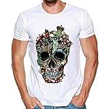 MRULIC Herren Fashion T-Shirt Einfaches Shirt Sommer Skull Pattern Weiß Tops(B-Weiß,EU-40/CN-S)