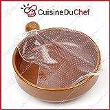 ✮ CuisineDuChef ✮ Filme gedehnt, aus lebensmittelechtem Silikon | 4 Stück | wiederverwendbar und ausziehbar | Erhaltung Lebensmittel | Set Deckel luftdicht | Kühlschrank, Gefrierschrank, Mikrowelle