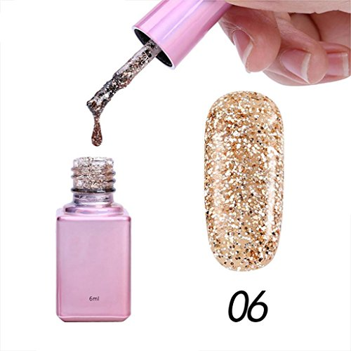 Toamen Vernis à ongle Femmes, Colle à ongles paillettes Sequins Gel Nail Bonne qualité Diamant Glitter Nouveau 6ml 15 couleurs (F)