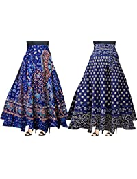 a97a8f2e53 Trendy Fab Women's Cotton Wrap Around Skirts (Multicolor,Free Size) Combo  Pack of