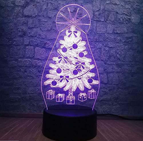 Caja De Regalo De Navidad 3D Lámpara Led Rgb Iluminación 7 Cambio De Color Dormitorio Mesa Luz Nocturna Atmósfera Decoración Niños Juguetes (Decoracion De Mesa De Halloween)