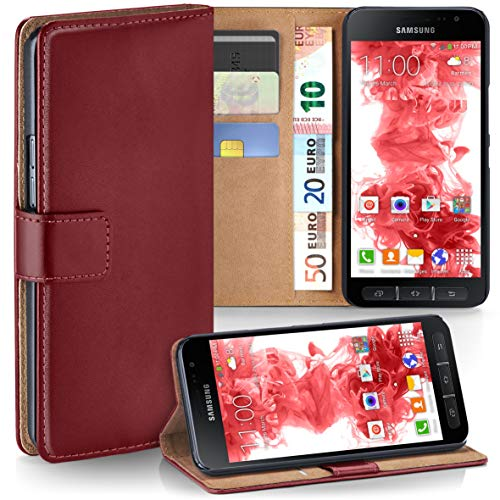 moex Samsung Galaxy Xcover 4 | Hülle Dunkel-Rot mit Karten-Fach 360° Book Klapp-Hülle Handytasche Kunst-Leder Handyhülle für Samsung Galaxy Xcover 4 Case Flip Cover Schutzhülle Tasche