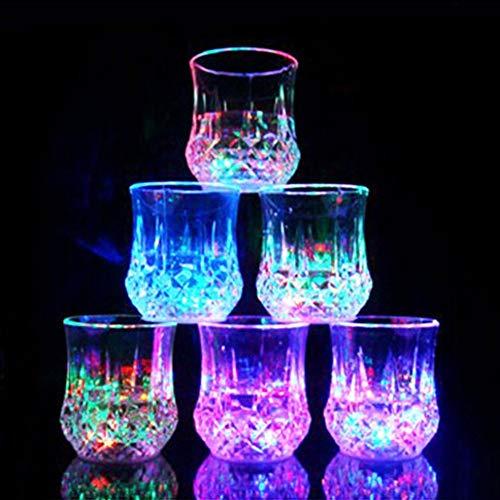 JINM Induktive Colorful LED Wein Whisky Cup Flash Light Glas Bar Party Getränk Cup Nachtlicht, Wasser Aktiviert Farbe ändern Flash Glas Tasse für Bar Club Weihnachten Party Supplies
