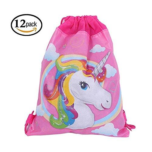 ABYED Bolsillo con cordón de Unicornio de Tela no Tejida Bolsa de Regalo para Fiestas y el año, Paquete Contiene 12 Unidades