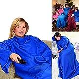 Kosy Wrap Fleece-Decke, mit Ärmeln, mit Taschen, für Abendessen, Blau
