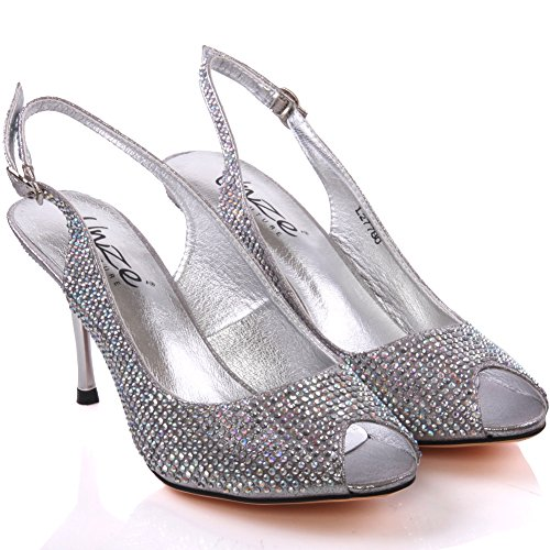 Unze Femmes de Caprio ' Shimmery Fashion Sandals Argent