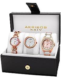 Akribos XXIV Women's AK887RG Quartz Diamonds Bracelet and Strap Watches Set