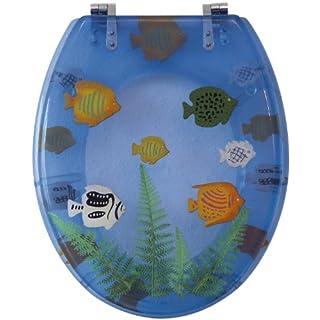 Sanitop-Wingenroth - 40574 4 - WC-Sitz Dekor Seaworld blau-transparent - WC Brille aus Kunststoff & Metall-Scharnier