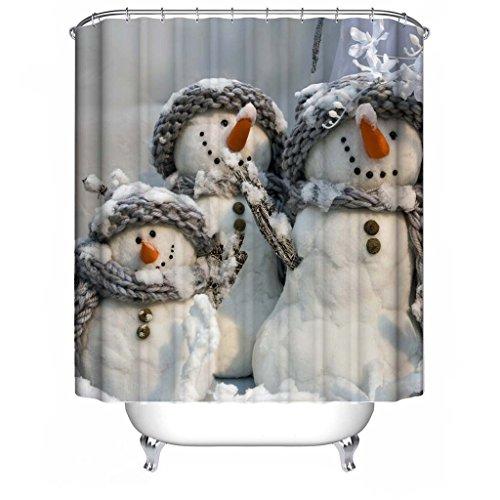 Frohe Weihnachten Stoff Wasserdichte Badezimmer Duschvorhang Shower Curtain+ Haken 180x180cm(72x72 inch), #19 (Frohe Weihnachten Stoff)