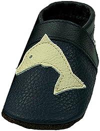 Mopu's® Krabbelschuhe - Lederpuschen in marineblau mit Delphin - handgemachte Markenqualität aus Deutschland