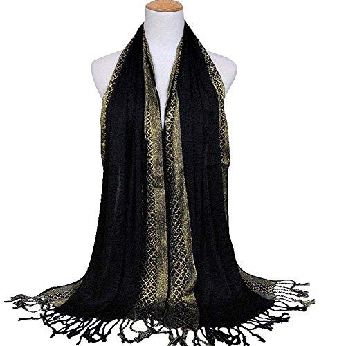Foulard femme, Voile pour femme long, Châle Fashion. Foulard pour femme tendance Noir