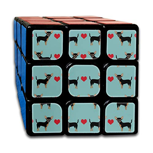 Tan Heart Fabric Pet Dog Breed_864 3x3 Magic Speed Cube Smooth Speed Magic Rubik Cube Puzzles Toys ()
