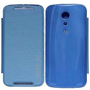 DMG Flip Book Diary Cover Hard Back Case for Motorola Moto G2 2nd Gen XT1068 (Blue) + DMG Wristband