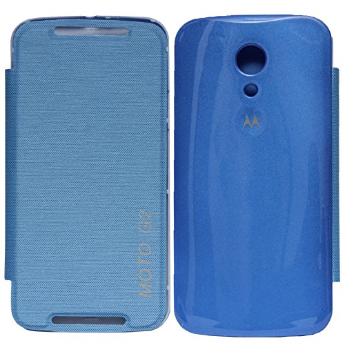 DMG Flip Book Diary Cover Hard Back Case for Motorola Moto G2 2nd Gen XT1068 (Blue) + DMG Wristband  available at amazon for Rs.299