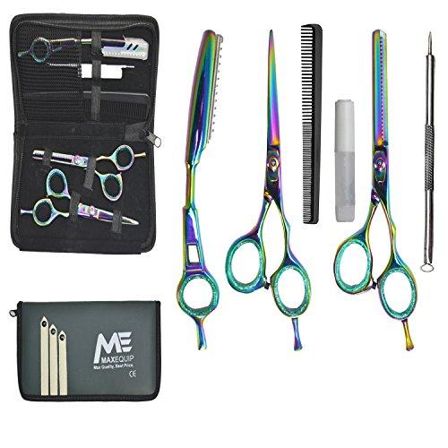 Barber Schere Geschenk-Set 6-teilig, Scheren/Modellierschere/Borte Rasierer/Kamm/, Öl/Mitesserentferner/Reißverschluss Tasche–Professionelle Qualität Regenbogen irisierend