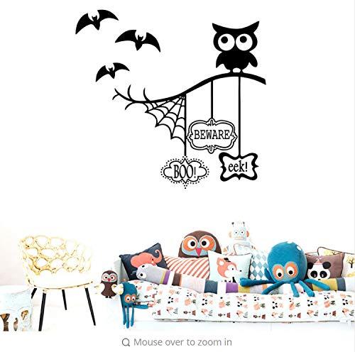 Miss Zhang's shop Eule Halloween Thema Wandaufkleber Spinnennetz Bat Für Hauptdekoration Wohnzimmer Hintergrund Wandbild Kunst Aufkleber PVC Aufkleber