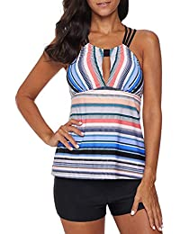 863c7955bd2b8 FIYOTE Womens Color Block Print Tankini Top with Boyshort Two Pieces  Swimsuit