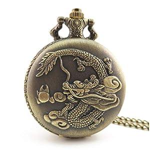 Chinesischer Drache geschnitzt Vintage Antikes rundes Zifferblatt Quarz Taschenuhr Halskette Anhänger Uhr für Mens Womens Best Gifts – Bronze