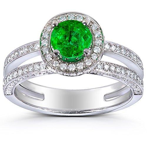 Emerald & Diamond Halo Anello solitario 1/2/5ct TCW in oro bianco 18 k, Oro bianco, 17, cod. 71047X_8.0