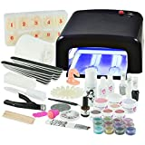 UV Gel Nagelstudio Starter Set - optimaler Einstieg in das eigene Nageldesign mit dem Nagelset dank viel Nailart, UV Lampe und Farbgel Set Soft Nudes (schwarz)