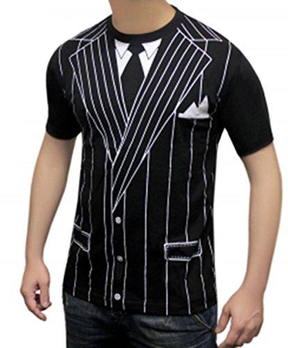 Herren bedruckt T-Shirts Uniform Kostüm Hen Night Junggesellen Party Fancy Dress Vielzahl von Designs (klein, Gangster) (Gangster Shirt Erwachsene Kostüme)