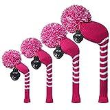 MEILI Gottheit Bright Farbe Knit Golf Schlägerhaube Set von 4Für Driver Holz, Fairway Holz * 2und Hybrid, langer Hals, Big Pom Pom, Deep Pink Stripes