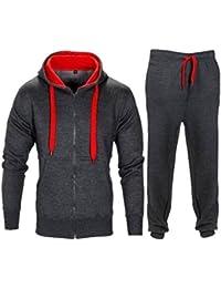 1aced1b9205 Parsa Fashion® Ensemble survêtement à manches longues et capuche en polaire  avec fermeture éclair pour homme Couleur unie Taille au…