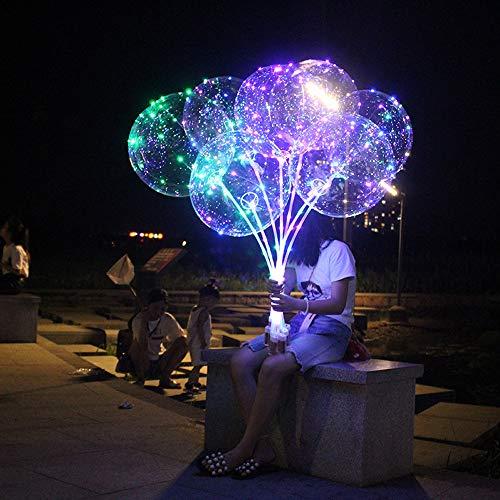 Dkings LED Bobo leuchtende Ballonfarbe weiß transparenten Helium-Ballon mit Stringlampe, LED-Lampen-Ballon für jede Veranstaltung, Hochzeit und Party Dekoration Party (bunt)