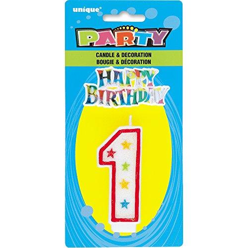 Unique Party - 37311 - Bougie à Paillettes d'Anniversaire Numéro 1 et Décoration pour Gâteau - Happy Birthday 0011179373116